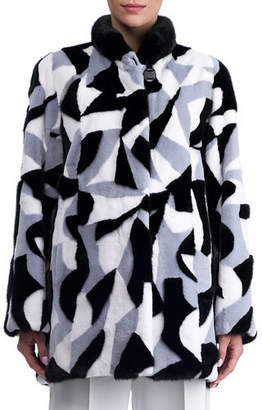 Gorski Mink Intarsia Stroller Coat