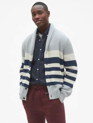 Gap Ribbed Stripe Shawl Cardigan Sweater