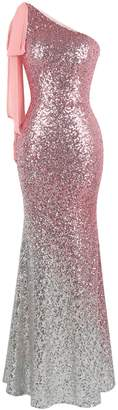 Angel-fashions Women's Asymmetric Ribbon Gradient Sequin Mermaid Long Dress (M, )