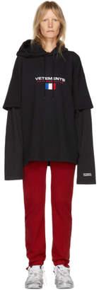 Vetements Black Logo Double Sleeve Hoodie