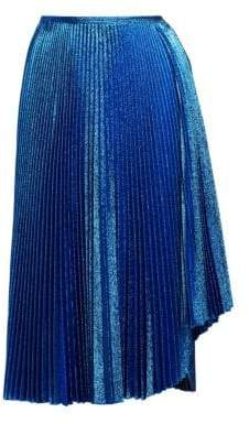 Cédric Charlier Metallic Lurex Pleated Midi Skirt
