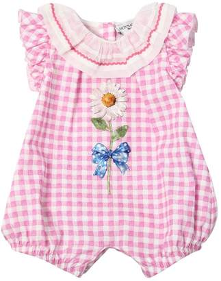 MonnaLisa Gingham Print Cotton Poplin Bodysuit