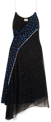Jason Wu GREY - Asymmetric Printed Silk-chiffon And Crepe De Chine Dress - Navy