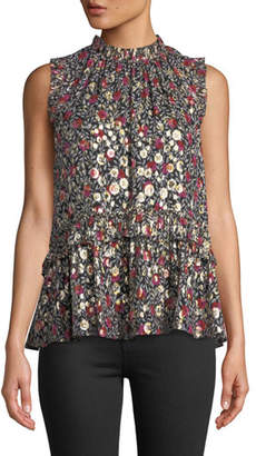 Kate Spade Park Clip Floral Dot Mock-Neck Sleeveless Peplum Top W/ Ruffle Trim