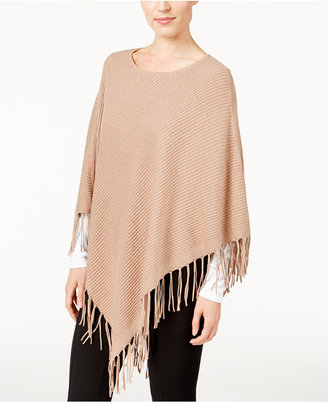 JM Collection Ribbed Fringe Poncho, Only at Macy's $59.50 thestylecure.com