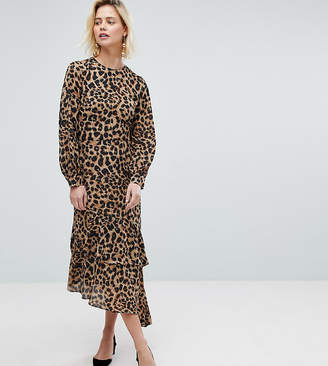 Warehouse Leopard Print Chiffon Dress