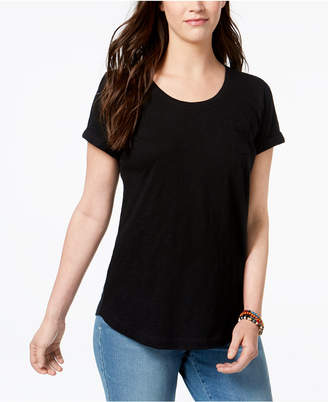 Style&Co. Style & Co Cuffed-Sleeve Cotton T-Shirt, Created for Macy's
