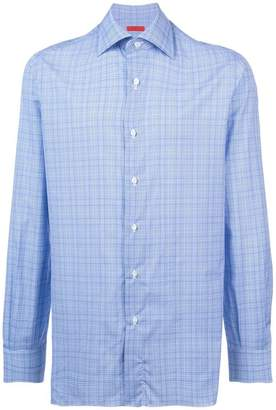 Isaia longsleeved plaid print shirt