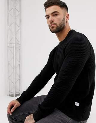 Jack and Jones Originals crew neck knitted sweater in black