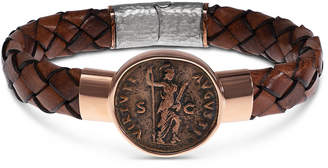 Jorge Adeler Men's Ancient Virtus Coin Braided Leather Bracelet
