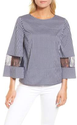 Chelsea28 Gingham & Lace Blouse