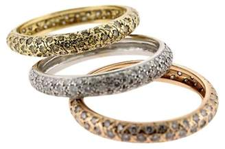 18K Gold & Diamonds Stack Band Set Of 3 Ladies Rings