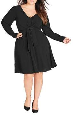 City Chic Plus Tie-Up Front Fit-&-Flare Dress