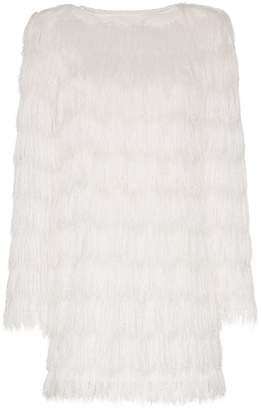 Balmain fringe detail long sleeved shift dress