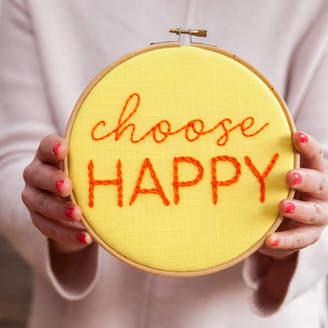 Make & Mend 'Choose Happy' Embroidered Hoop Sign