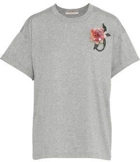 Christopher Kane Floral-Appliquéd Mélange Cotton-Jersey T-Shirt