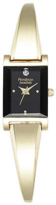 Armitron Now Womens Diamond-Accent Rectangular Bangle Watch 75/5322BKGP