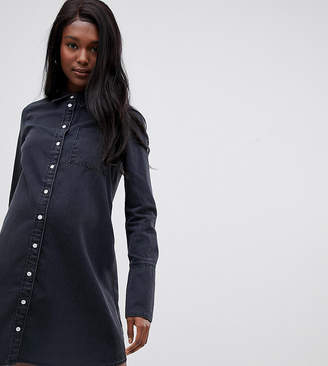 Asos DESIGN Maternity denim shirt dress with deep cuff in washed black