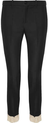 Gucci Ruffle-trimmed Silk And Wool-blend Skinny Pants - Black
