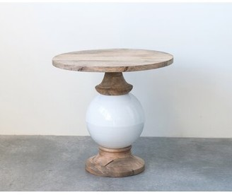 Bungalow Rose Hilary Mango Wood and Metal Round End Table