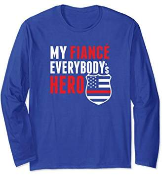 Firefighter Girlfriend Red Line US Flag Long Sleeve Tshirt