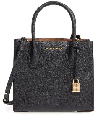 Michael Michael Kors Mercer Leather Crossbody Bag - Black $228 thestylecure.com