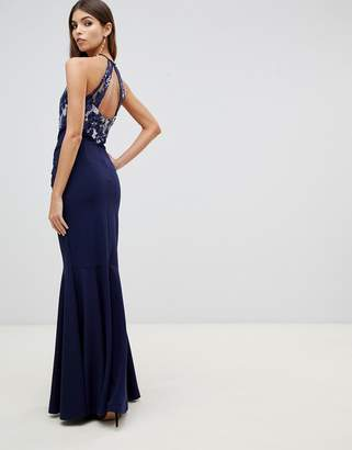Lipsy lace detail maxi dress in navy