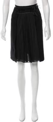 J. Mendel Textured Velvet-Trimmed Skirt