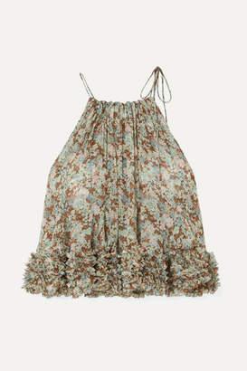 3d9d57405d2c0 Stella McCartney Ruffled Floral-print Silk-georgette Halterneck Top - Green