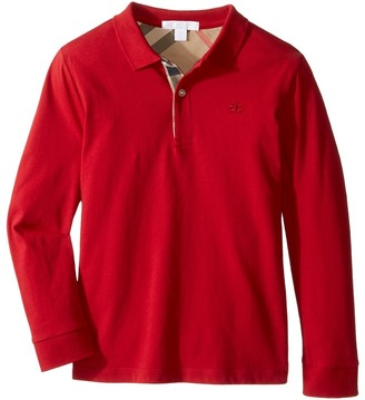 Burberry Kids - PPM Long Sleeve Polo Boy's Long Sleeve Pullover $85 thestylecure.com