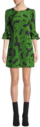 Diane von Furstenberg Lousie Stretch-Viscose Printed Bell-Sleeve Dress