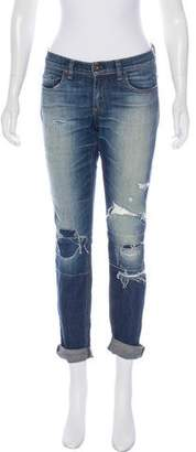 Rag & Bone Low-Rise Distressed Jeans