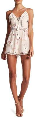 L'Atiste Front Tie Lace-Up Embroidered Mesh Romper