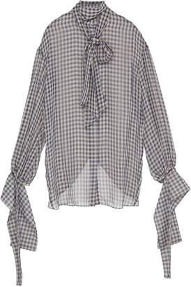 rokh Detachable drape cuff split back gingham check blouse