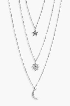 boohoo Star Sun Moon Layered Necklace