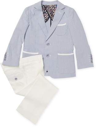 Isaac Mizrahi Stripe Suit Jacket and Tonal Trousers Set