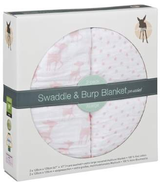 Lassig Lela Swaddle and Burp Blanket, X-Large, Light Pink