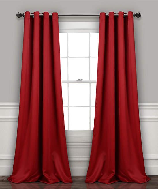 Red Insulated Blackout Curtain Panel - Set of Two