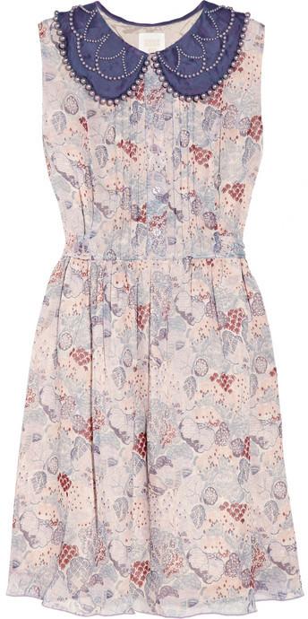 Anna Sui Embellished printed silk-chiffon dress