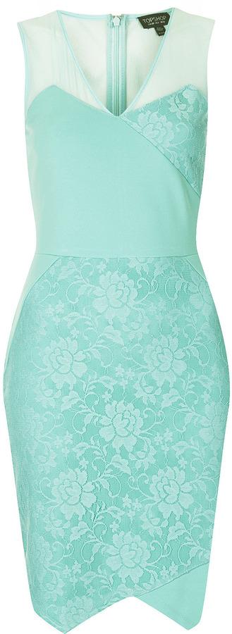 Topshop V Lace Applique Bodycon Dress