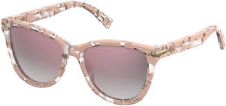 Marc Jacobs Mirrored Iridescent Cat-Eye Sunglasses, Pink Havana