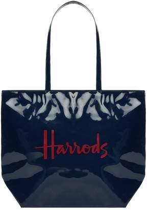 Harrods Patent Shoulder Tote Bag