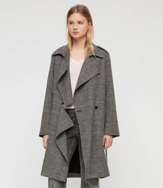 AllSaints Bexley Check Trench Coat