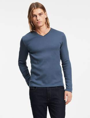 Calvin Klein classic fit long sleeve v-neck ribbed tee