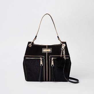 River Island Black pocket front slouch bag
