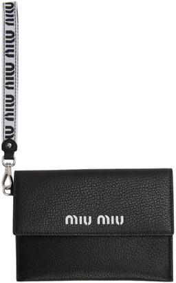 Miu Miu Black Madras Leather Pouch