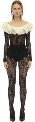 Alessandra Rich STRETCH LACE JUMPSUIT W/ RUFFLED COLLAR