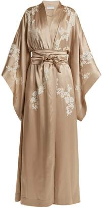 Carine Gilson Lace-detailed silk-satin kimono robe