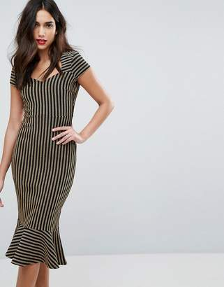 Outrageous Fortune Sweetheart Midi Pencil Dress With Peplum Hem
