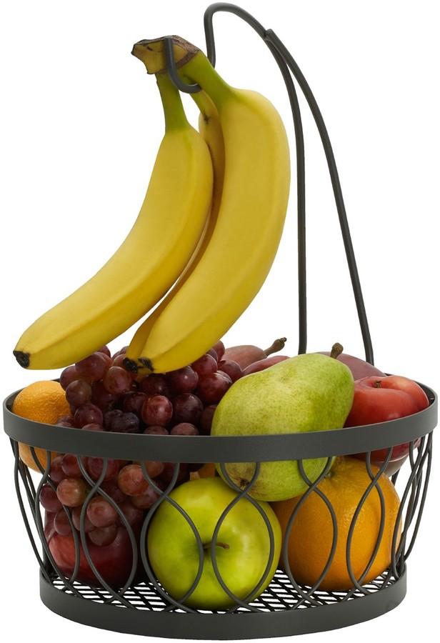 Gourmet Basics Rustic Farmstand Fruit Basket with Banana HOOK